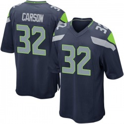 Nike Chris Carson Seattle Seahawks Men's Game Navy Team Color Jersey